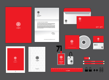 letter head: corporate identity template for your business includes CD Cover, Business Card, folder, ruler, Envelope and Letter Head Designs T Illustration
