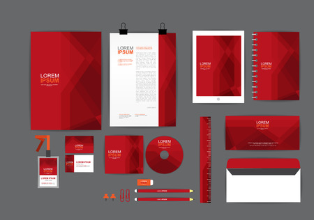 letter head: Red corporate identity template  for your business includes CD Cover, Business Card, folder, ruler, Envelope and Letter Head Designs