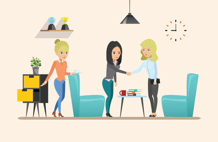 co workers: Business meeting. Teamwork shared working. Vector design set 2