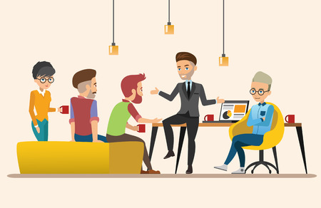 co workers: Business meeting. Teamwork shared working. Vector design set 3 Illustration