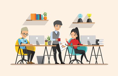 co workers: Business meeting. Teamwork shared working. Vector design set 4