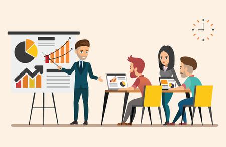 Business meeting. Teamwork shared working. Vector design set 5
