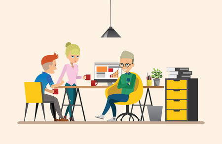 co workers: Business meeting. Teamwork shared working. Vector design set 6