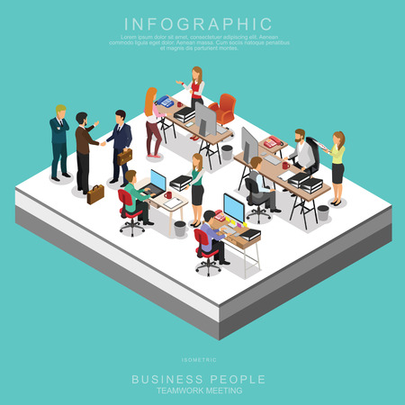 ISOMETRIC BUSINESS PEOPLE TEAMWORK MEETING in office, share idea,  infographic vector design Vettoriali