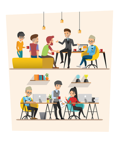 co workers: set of Business meeting. Teamwork shared working. Vector design B