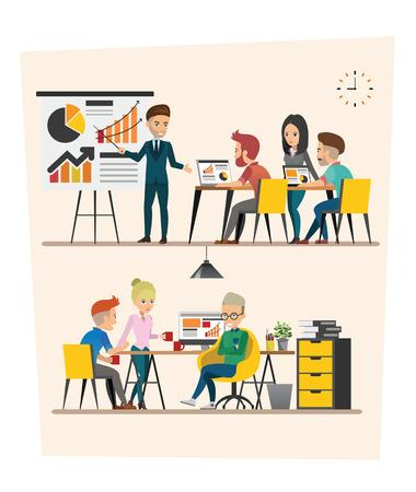 set of Business meeting. Teamwork shared working. Vector design C Illustration