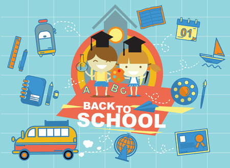 boy and girl back to school vector design