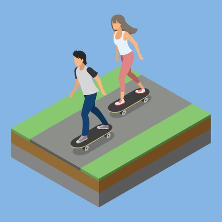 skateboard park: isometric park activity playing skateboard Illustration
