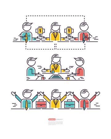 teamwork: business concepts, icon teamwork Illustration