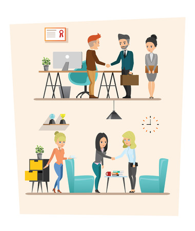 co workers: set of Business meeting. Teamwork shared working. Vector design A Illustration