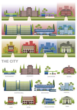 THE CITY-elementen met SUPERMARKT, UNIVERSITEIT, GASSTATION, SCHOOL, WINKELCENTRALE, BUSSTATION, BUSSTATION, ZIEKENHUIS, CAFE, HOTEL, POLITIEZENDER en BANK vectorontwerp