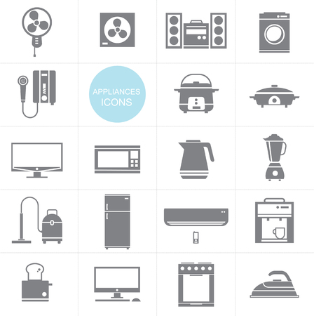 microwave ovens: Vector Household appliances icon set design Illustration