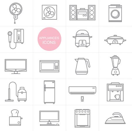 household appliances: Vector Line Household appliances icon set design