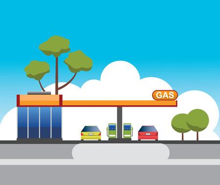 fuelling pump: gas station building vector design