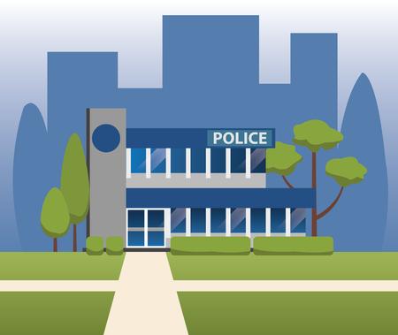 prison guard: police station department building vector design
