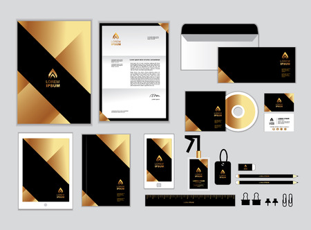 gold and black corporate identity template for your business includes CD Cover, Business Card, folder, ruler, Envelope and Letter Head Designs Illustration