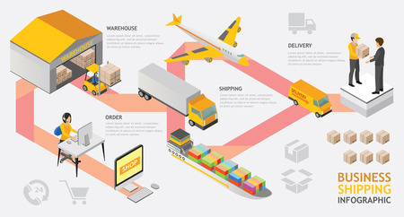 infographic isometric shipping service vector design