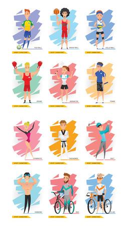 swim cap: Sport Characters Set Include Football, Golf, Basketball, Volleyball, Gymnastics, Taekwondo, Boxing, Badminton, Tennis, Swimming, BMX and Cycling