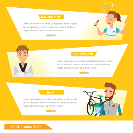 info graphic sport badminton, taekwondo and bicycle rider Illustration