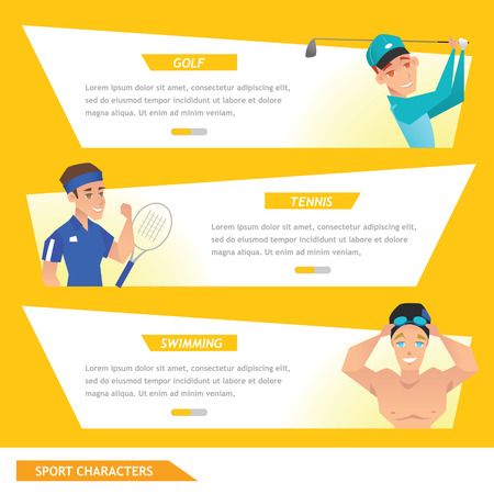 advertise: info graphic sport golf, tennis and swimming