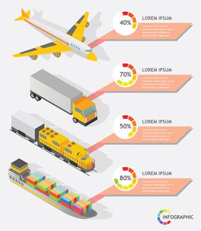transporter: isometric info graphic transporter shipping vector design Illustration