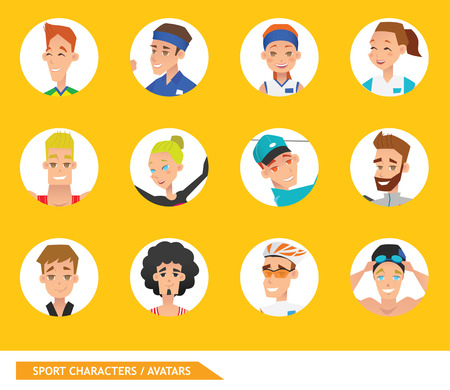Sport characters Avatars vector design