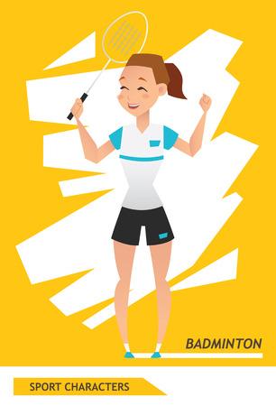 Sport characters badminton player vector design