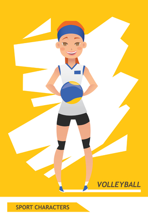 Sport characters volleyball player vector design Illustration