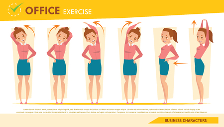 girl office syndrome infographic and stretching exercise set 2 Illustration