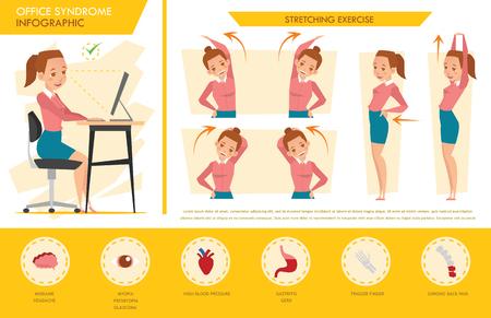 女の子オフィス症候群インフォ グラフィックとストレッチ体操