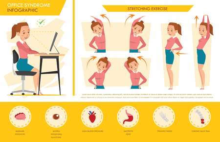 ragazza sindrome ufficio infografica e esercizio di stretching
