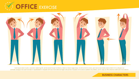 stretching exercise: man office syndrome infographic and stretching exercise set 2