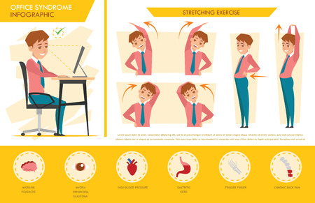 stretching exercise: man office syndrome infographic and stretching exercise