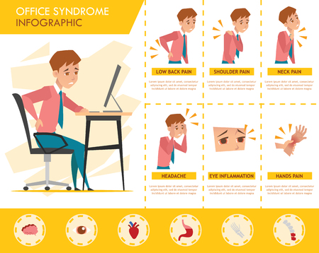 man office syndrome infographic Vector Illustration
