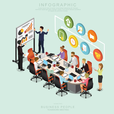 Isometric Business People Teamwork Meeting in office, share idea,  infographic vector design Set L