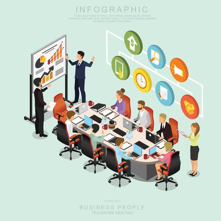 Isometrische Geschäftsleute Teamwork Meeting im Büro, Ideen teilen, Infografik-Vektor-Design Set L design