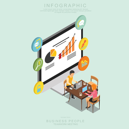 Isometric Business People Teamwork Meeting in office, share idea,  infographic vector design Set N Illustration