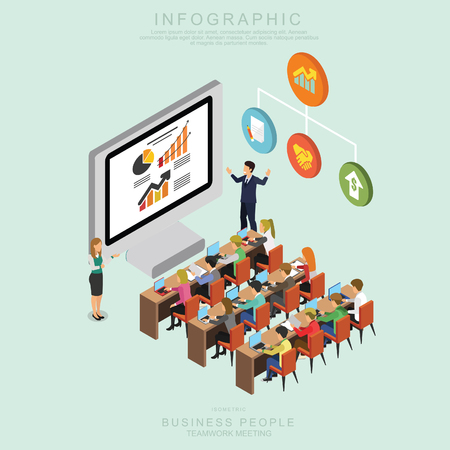Isometric Business People Teamwork Meeting in office, share idea,  infographic vector design Set O