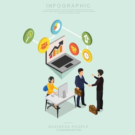 Isometric Business People Teamwork Meeting in office, share idea, infographic vector design Set R
