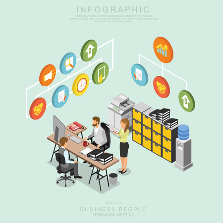 Isometric Business People Teamwork Meeting in office, share idea,  infographic vector design Set U