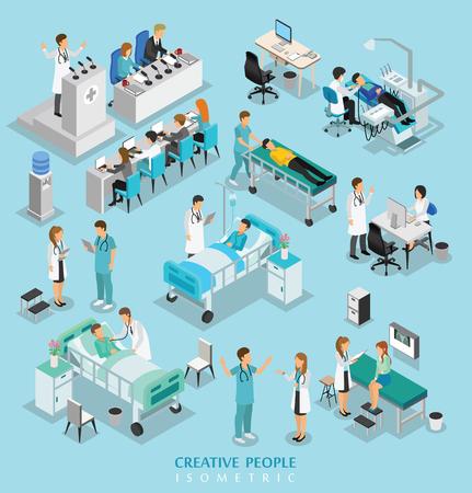 El carácter isométrico de las personas en el hospital incluye médico, enfermera, hombre y mujer. Ilustración de vector