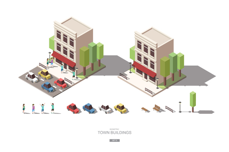 isometric town buildings with people, car and tree vector icon design Set B