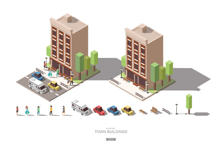 isometric town buildings with people, car and tree vector icon design Set C