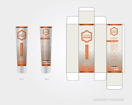 Das Design der orangefarbenen Kosmetikverpackung umfasst Box und Flasche Vektorgrafik