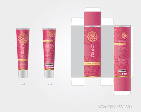 El diseño del paquete cosmético rosa incluye caja y botella.