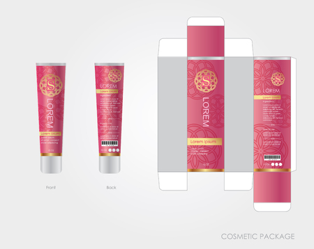 pink cosmetic package design include box and bottle