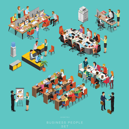 Set of ISOMETRIC BUSINESS PEOPLE TEAMWORK MEETING in office, share idea,  infographic vector design set 2