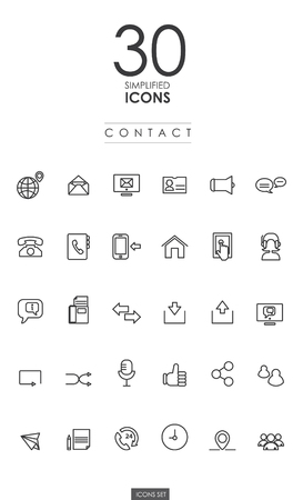 30 SIMPLIFIED CONTACT ICONS design Illustration