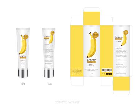 El diseño del paquete cosmético de plátano incluye caja y botella.