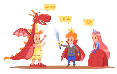kids king and queen characters design with dragon Illustration